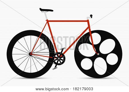Hipster single speed bike in black and red colors. City bicycles with fixed gear.