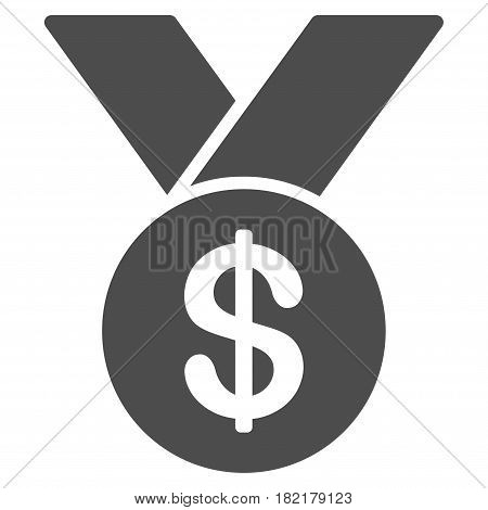 Bestseller Medal vector icon. Illustration style is a flat iconic grey symbol on a white background.