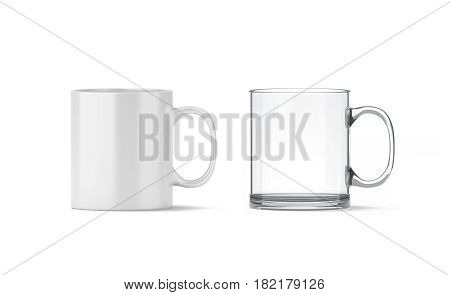 Blank white and transparent glass mug mockup isolated 3d rendering. Clear 11 oz coffee cup mock up for sublimation printing. Glassy translucent tankard design.