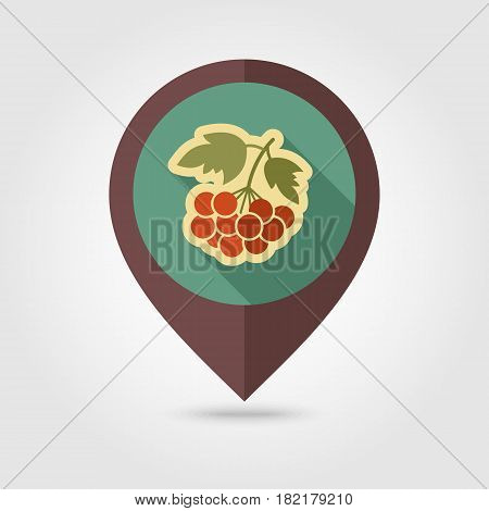 Rowan branch flat vector pin map icon. Map pointer. Map markers. Berry fruit. Vector illustration eps 10