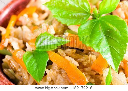 Macro View Of The Dish Of Cooked Rice