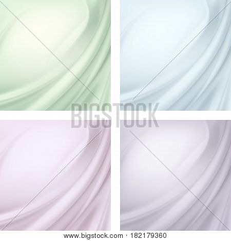 Vector Set of Light Colored Red Green Blue Violet Purple Pink Satin Silky Cloth Fabric Textile Drape with Crease Wavy Folds. Abstract Background