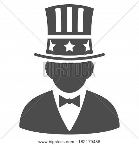 Capitalist vector pictograph. Illustration style is a flat iconic grey symbol on a white background.