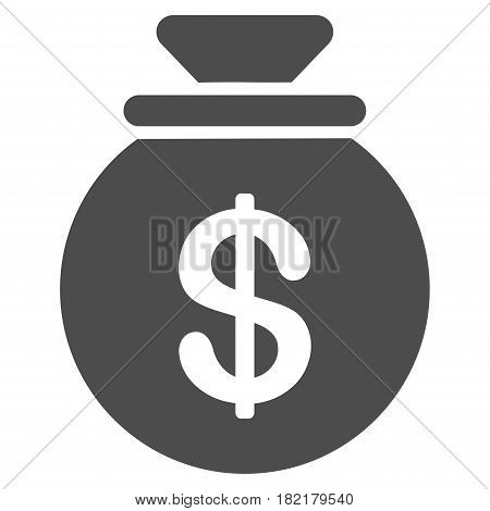 Cash Harvest Sack vector pictograph. Illustration style is a flat iconic gray symbol on a white background.