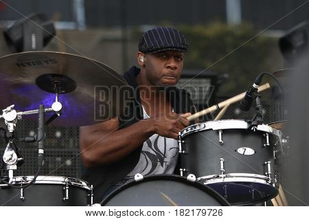 FRISCO, TX-APR 24: Drummer Lester Estelle Jr of the Casey Donahew Band performs onstage during the 2016 Off The Rails Music Festival - Day 2 on April 24, 2016  at Toyota Stadium in Frisco, Texas.