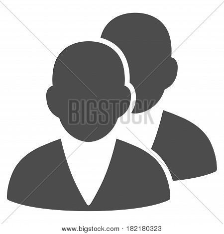Customers vector icon. Illustration style is a flat iconic gray symbol on a white background.