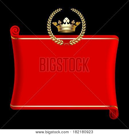 Red banner with gold crown and laurel wreath isolated on black