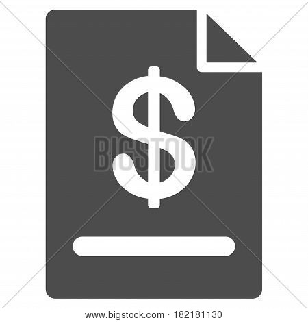 Invoice vector pictograph. Illustration style is a flat iconic gray symbol on a white background.
