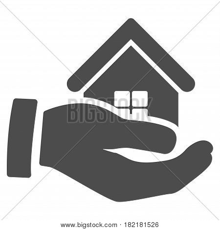 Realty Offer Hand vector pictograph. Illustration style is a flat iconic grey symbol on a white background.