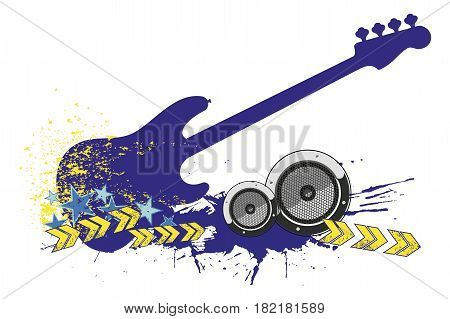 Electro bass guitar silhouette and ornament in modern style isolated on white background.