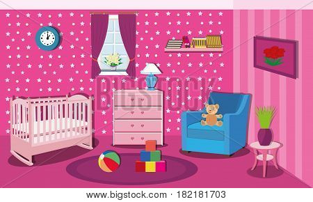 Cute baby room with colorful furniture.Modern interior design.Cradle,table,armchair, nightstand,bookshelf with books,window and toys. Flat style vector illustration
