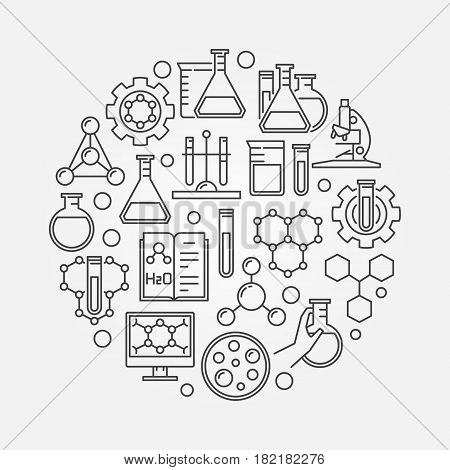 Education and chemistry circular symbol. Vector round creative chemical sign in thin line style