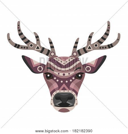 Deer Head Logo. Vector decorative Emblem isolated.