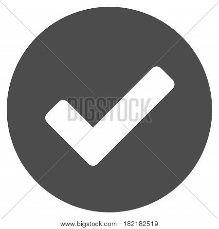 Yes vector pictograph. Illustration style is a flat iconic grey symbol on a white background.