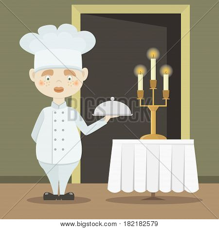 Cute funny chef cook in the cap. Vector illustration, EPS 10