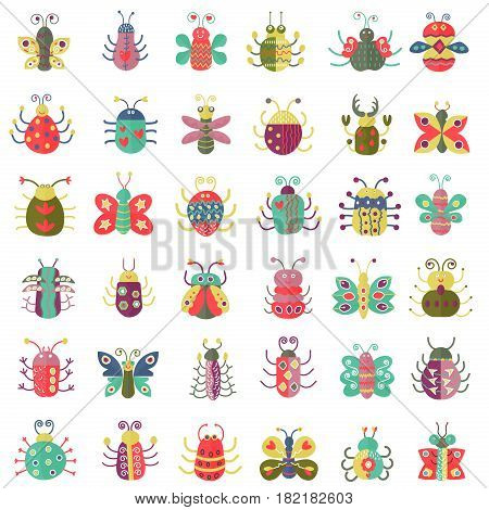 Color flat insects icons set. Simple flat Butterfly, bugs collection