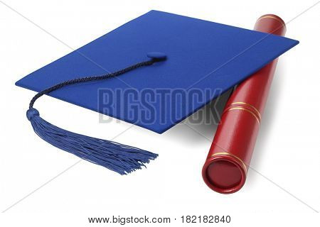 Graduation Scroll holder and Mortar Board on White Background