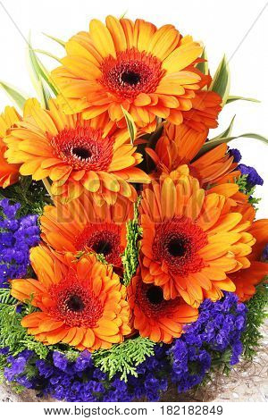 Flower Arrangement with Orange Gerbera Daisies