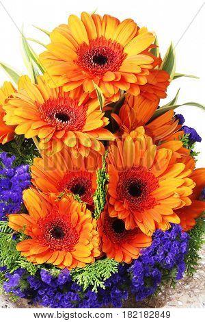 Flower Arrangement with Orange Gerbera Daisies