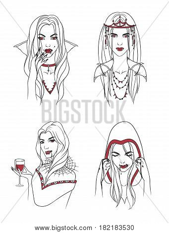 Vampire girl. Woman with fangs and blood. Collection stylish portrait halloween character. Hand drawn contour vector illustration