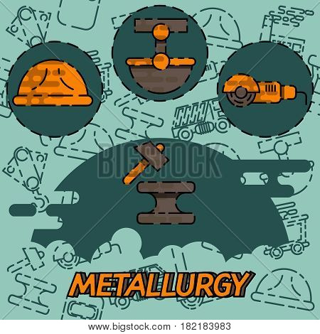 Metallurgy flat concept icon. Vector illustration, EPS 10
