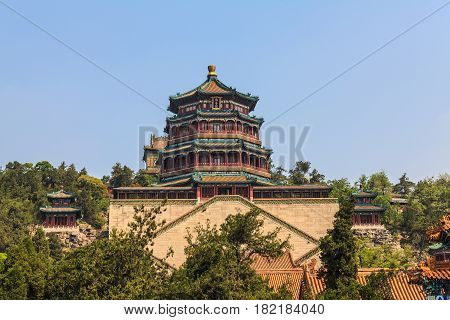 Summer Palace, Beijing, China. Summer residence of chinese emperors with ensemble of temples on hill