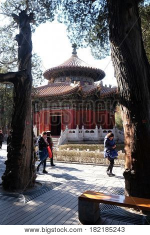 BEIJING - FEBRUARY 23:  Gazebo in the Imperial Palace Yard in the Forbidden City, Beijing, China, February 23, 2016.