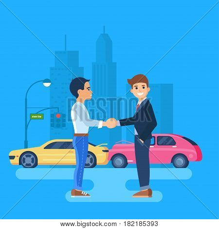 Two men shake hands. Car accident on the background of the city. The cars are near the traffic light.
