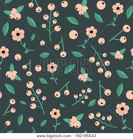 Unique botanical seamless pattern with white currant berries wild flowers leaves calico style.