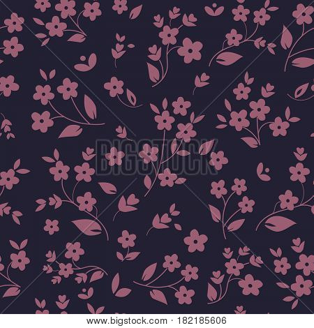 Millefleurs seamless pattern design with small field flowers silhouettes daisies botanical elements lavender on dark background. For fabric prints wallpaper upholstery. Elegant