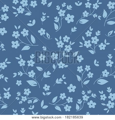 Millefleurs seamless pattern design with small field flowers silhouettes daisies botanical elements light blue on dark background. For fabric prints wallpaper upholstery. Elegant