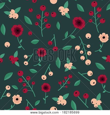 Unique botanical seamless pattern with white currant berries wild red pink flowers leaves calico style. For textile scrapbooking gift wrapping paper tapestry handmade