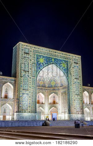 Tilya-kori Madrasah At Night, Registan, Samarkand