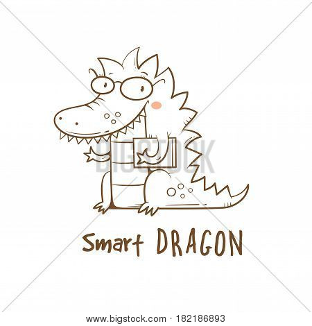 Card with cute cartoon dragon in glasses. Smart reptile with book. Funny animal. Vector contour image no fill. Children's illustration.