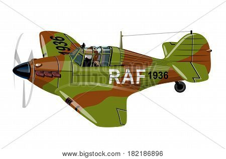 Vector Cartoon Retro Fighter Plane. Available EPS-10 vector format separated by groups for easy edit