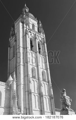Segovia (Castilla y Leon Spain): exterior of the medieval cathedral. Black and white