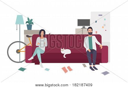 Divorce, family quarrel. Couple on the couch turning away from each other. flat colorful illustration poster