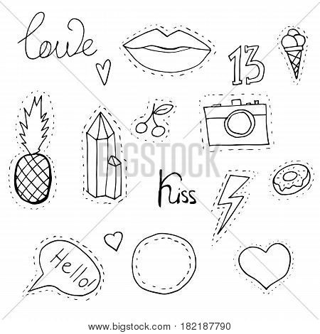 Quirky fashion patches set. Vector patches and badges collection on white background.