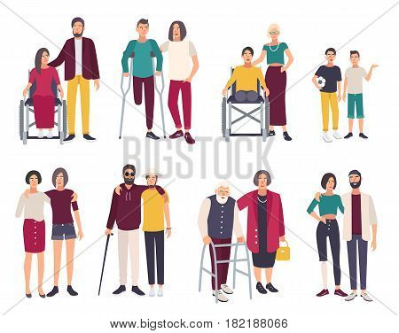 Happy disabled people with friends. Cartoon flat illustrations set