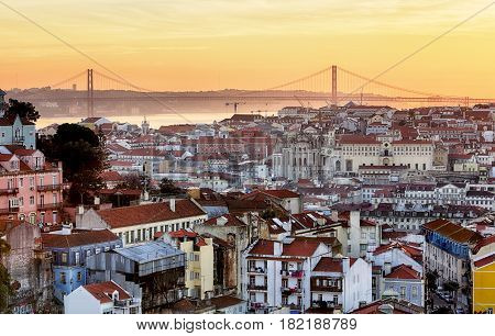 Lisbon - Lisboa cityscape Portugal at a sunset