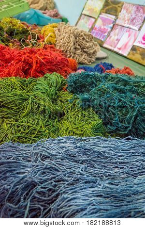 Silk thread colored in different colors in a silk factory