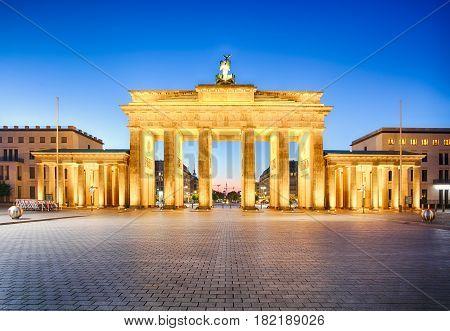 Brandenburg gate of Berlin German at night