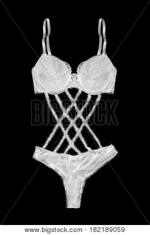 White sexy lacy lingerie isolated over black