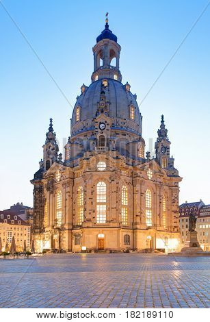 Frauenkirche cathedral in Dresden Germany at night