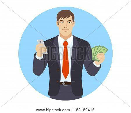 Businessman with mobile phone and cash money. Portrait of businessman character in a flat style. Vector illustration.