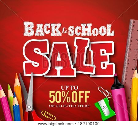 Back to school sale banner vector design in red background with school items and objects for store discount promotion. Vector illustration.