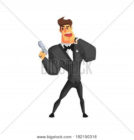 Secret Service Male Agent Undercover Talking To Radio. Handsome Muscly Professional Man Asset In Fancy Suit And On Duty. Cartoon Hero Special Force Crime Fighter Character Colorful Vector Illustration.