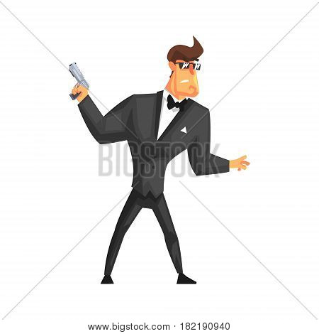 Secret Service Male Agent Undercover In Fancy Suit And Bow Tie. Handsome Muscly Professional Man Asset In Fancy Suit And On Duty. Cartoon Hero Special Force Crime Fighter Character Colorful Vector Illustration.