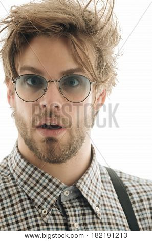 Handsome Man In Nerd Glasses With Surprised Face
