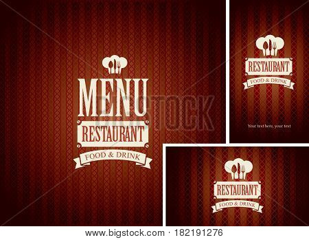 Set of design elements for a cafe or restaurant from the menu and business cards with chefs hat and flatware on dark red background
